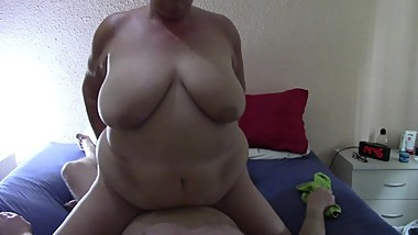 Chubby milf rides big Cock after giving head