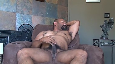 Amateur Latino Bear in Recliner