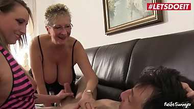 LETSDOEIT - Hot German GILF And Her Daughter Fuck Their Neighbor
