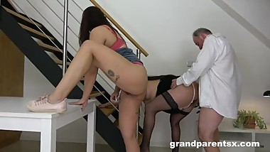 Old Perverted Citizen Fucks Stepdaughter and Wife - CFNM