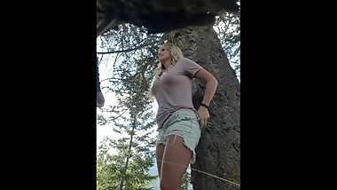 Brittany Jackson gets banged on outdoor hike in mountains