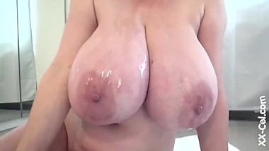 Mature Czech Babe Oils Her Massive Natural Tits