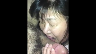 Japanese mature licking Cock