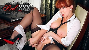 Beautiful redhead milf Red XXX plays with her dildo