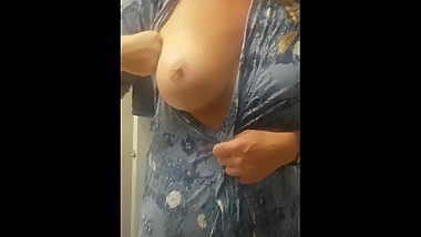 Blonde milf Brittany Jackson xoxo playing with nipples before shower