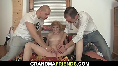Skinny blonde granny double penetration