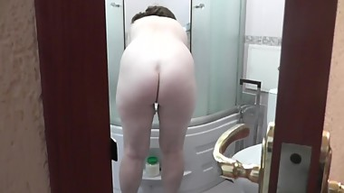 Amateur mobile phone. Wife takes shower son filming porn video. Spy cam Mom
