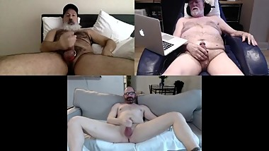 3 guys in a recorded zoom room with faces, hardons & cumshot at end