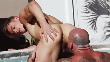 Angelic young jock fucked hard by a tattooed muscle daddy
