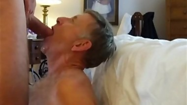 Mature Man Gagging on Friend's Cock -- cumshot