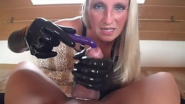 Hot blonde Milf In latex gloves big dick handjob with vibrator milks cock