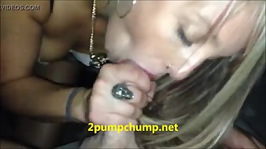 Premature Ejaculation - Blonde girl makes quick Blowjob