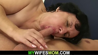 Wife finds her hairy old mother riding his cock!
