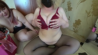 Wife with girlfriend, try on bras and fuck with dildo