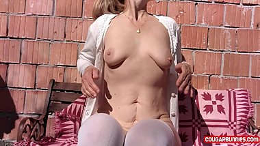 Noon Masturbation Outdoors Sunny Spring Day, Close Ups POV -Touching myself