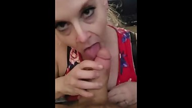 TABOO Amateur MILF COUGAR Gives step son blow job Cum Oral Cream Pie