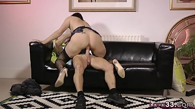 Alluring milf riding seniors cock in stockings