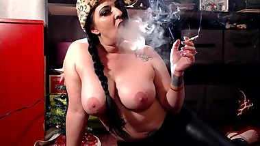Smoking Topless Double D Milf Mature