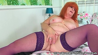 Redhead milf Ginger Tiger toys her freckled fanny