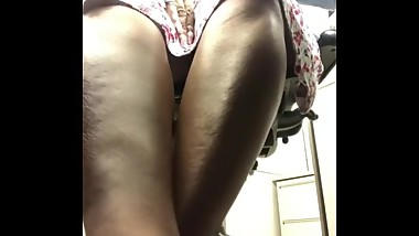 Mature ebony under the desk shoeplay
