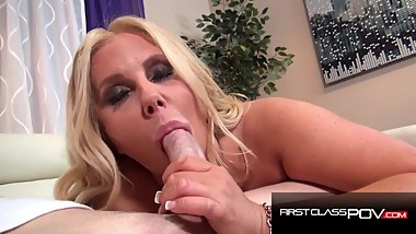Hot Chubby MILF sucking a monster cock, Karen Fisher - FirstClassPOV