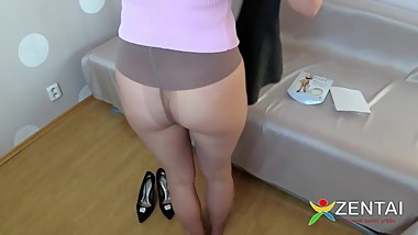 Woman dresses stockings on her bare butt, pantyhose fetish
