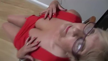 Busty Mature Mrs Robinson shows off her curves and nice hairy bush