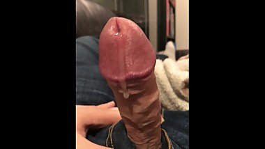 Uncut cock pulsates cum as soon as I get it out of my pants