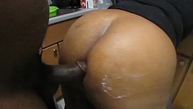 BLACK BBW GETS FUCKED IN THE KITCHEN WHILE COOKING TAKES BIG CUM SHOT