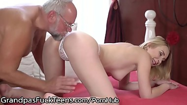 GrandpasFuckTeens Little Blonde Tastes Mature Cock