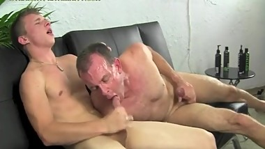Old guy bounces on a big young cock