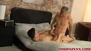 Silver daddy rides a big young cock