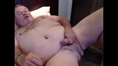 mature chubby with big cock cums for us