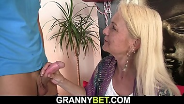 Skinny 70 years old blonde granny rides his massive rod