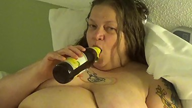 BBW German Mature Masturbate with a Beer Bottle