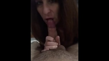 Mature woman sucking young guy