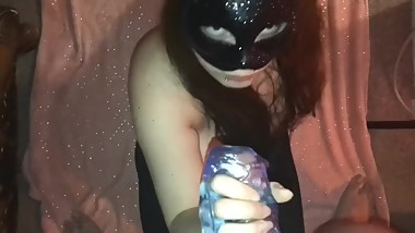POV Sucking cock with toy in a sexy black mask and covering it in cum!