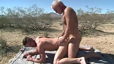 Hairy silver fox has sex with a very sexy young jock