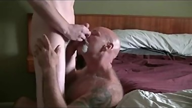 Sexy grandpa gets fucked by a hot young jock