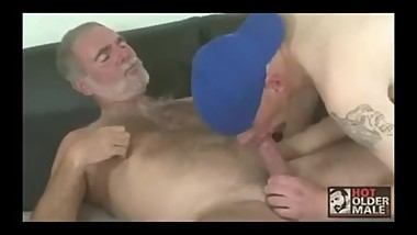 Dirty old man fucked by a young jock