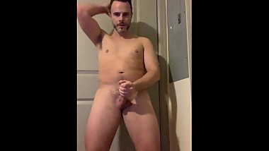 Young business guy stripping, moaning & stroking my big cock until I cum