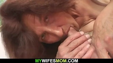 Very old girlfriends mom rides his cock