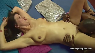Heavy facial for slut which a guy licks off