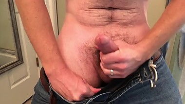 Big cock step dad squirt thick load before shower