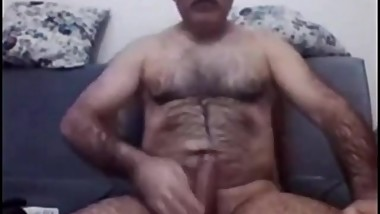 Turkish very hairy grandpa plays on cam