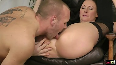 English cougar riding strangers cock