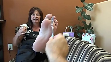 Very ticklish mature feet