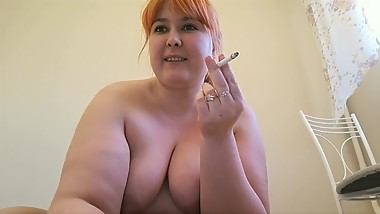 beautiful BBW in nylon pantyhose, smokes and masturbates on webcam