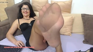 Mature on Webcam In Shiny Tan Pantyhose and Dress