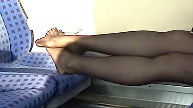 cheesy nylon feet train journey